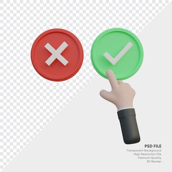3d illustration of hand touch accept checklist or crossmark