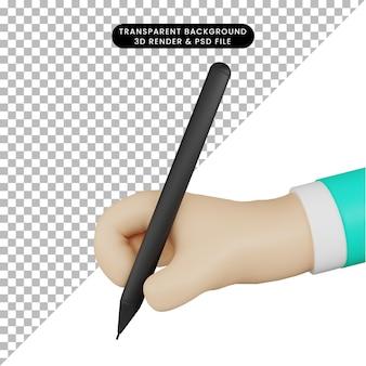 3d иллюстрации почерк с ручкой