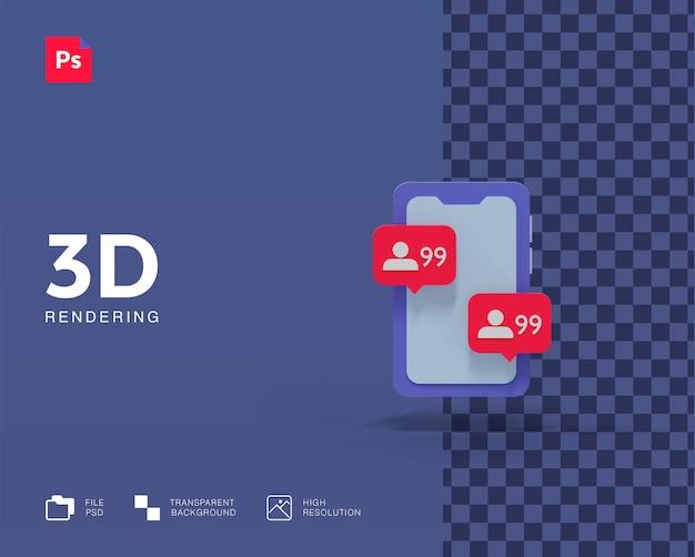 3d иллюстрации мобильный телефон с уведомлением