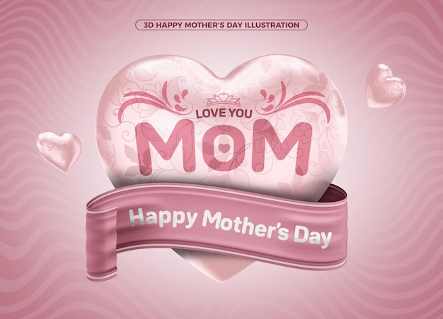 3d illustration happy mothers day for composition
