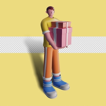 3d illustration of happy people carry gift boxes