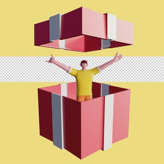 3d illustration of happy people in a gift box psd premium