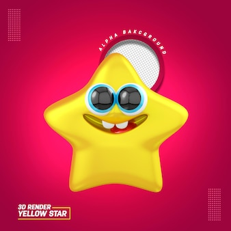3d illustration for happy star composition for childrens day