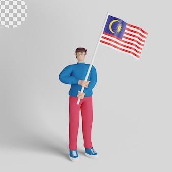 3d иллюстрации. хари мердека с мужчиной, держащим флаги