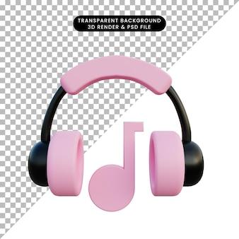 3d иллюстрации гарнитура со значком музыки