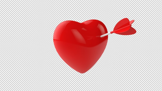 3d illustration on heart and arrow isolated