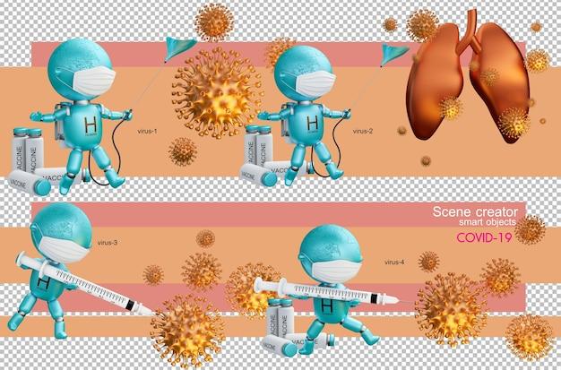 分離されたコロナウイルスとの3dイラスト人間の戦い
