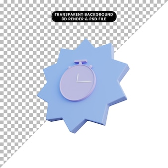 3d illustration icon clock with badge