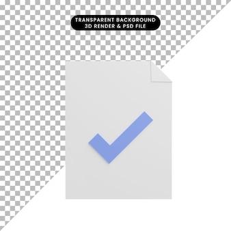 Бумажный файл значка 3d иллюстрации с значком контрольного списка