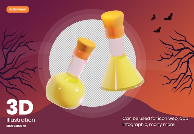 3d illustration icon of potion in glass with halloween theme