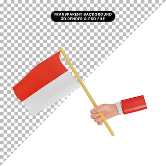 3d illustration of independence day of indonesian 3d hand holding flag