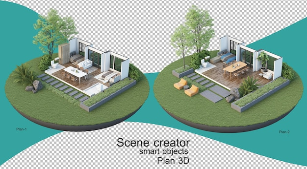 3d illustration of interior plan of building and residence