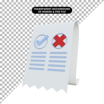 3d illustration invoice checklist and cross sign
