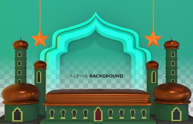 3d illustration. islamic new year design with space for text