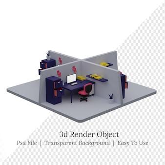 3dイラスト等尺性オフィスルーム