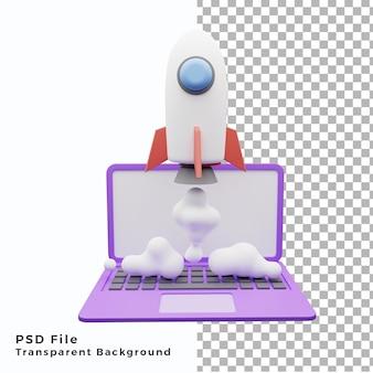 3d иллюстрации ноутбук и значок ракеты aset объект высокого качества