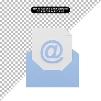 3d illustration of letter email with paper