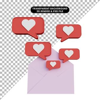 3d illustration letter with love pop up