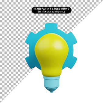 3d illustration of light bulb with gear