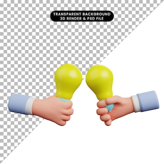 3d illustration of light bulb with hand