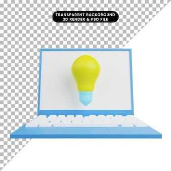 3d illustration of light bulb with laptop