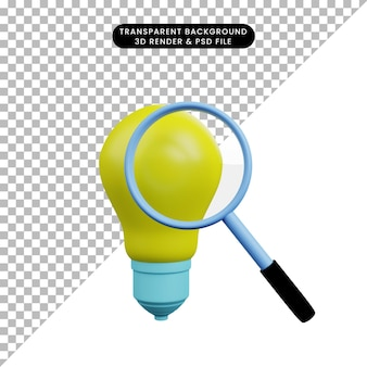 3d illustration of light bulb with magnifying