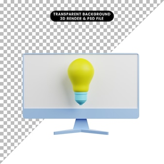 3d illustration of light bulb with monitor