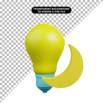 3d illustration of light bulb with moon