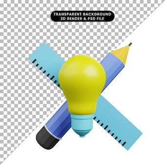 3d illustration of light bulb with pencil and ruler
