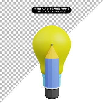 3d illustration of light bulb with pencil