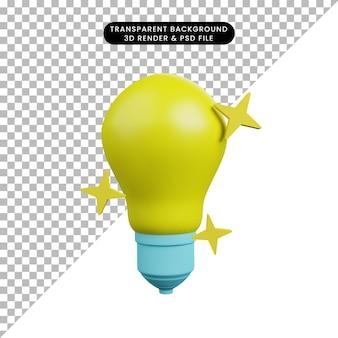 3d illustration of light bulb with sparkle
