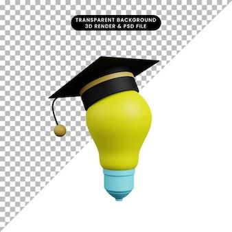 3d illustration of light bulb with toga hat