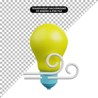 3d illustration of light bulb with wind