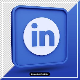 3d illustration linkedin icon