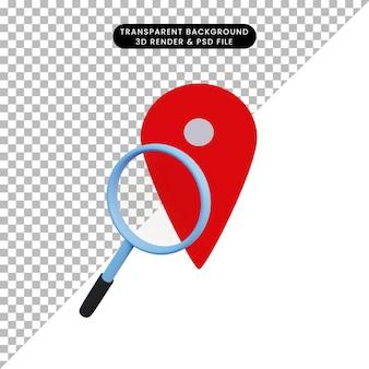 Значок местоположения 3d иллюстрации и увеличительное стекло