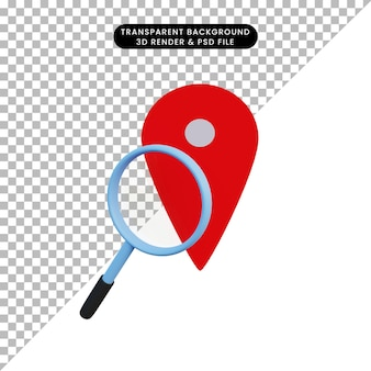 3d illustration location icon and magnifying
