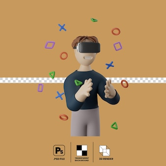 3d illustration of male character using vr gaming