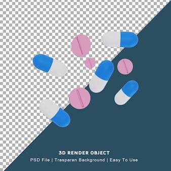캡슐 및 태블릿 모양의 3d 그림 의학 아이콘 프리미엄 PSD 파일