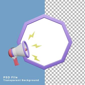 빈 팔각형 공간이 있는 3d 그림 확성기 프로모션