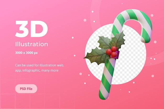 ウェブアプリのインフォグラフィック広告のための3dイラストメリークリスマスキャンディーフラワーポインセチア