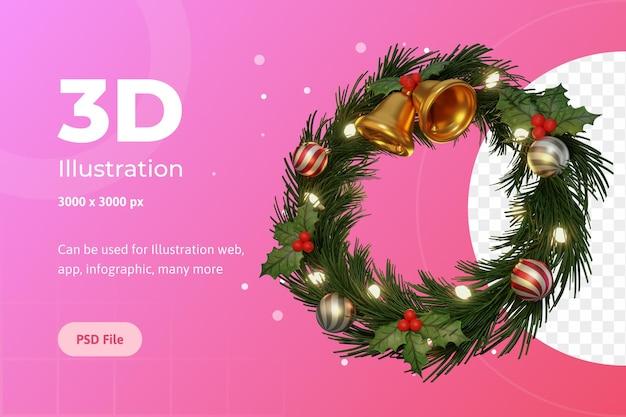 3dイラスト、メリークリスマス、サークルアドベント、ベル、フラワーポインセチア、ランプ付き。
