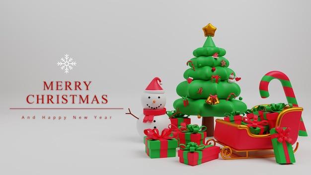 3dイラストメリークリスマスコンセプト背景クリスマスツリー、サンタの馬車、ギフトボックス