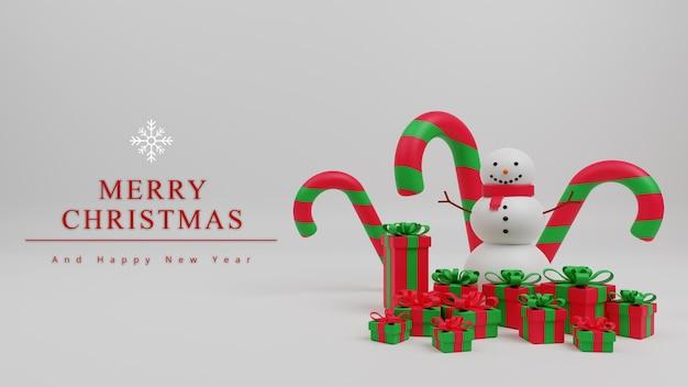 キャンディケインクリスマス、雪だるま、ギフトボックスと3dイラストメリークリスマスコンセプトの背景