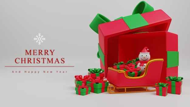 3dイラストメリークリスマスコンセプトの背景とクリスマスツリー、サンタの馬車、ギフトボックス、雪の男