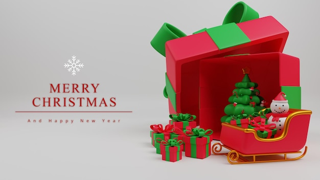 3dイラストメリークリスマスコンセプトの背景とクリスマスツリー、サンタの馬車、ギフトボックス