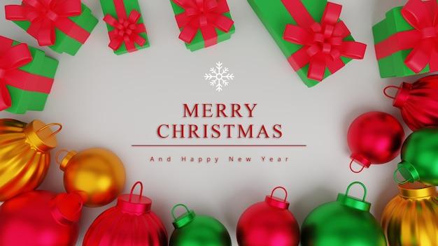 선물 상자와 크리스마스 장식 3d 그림 메리 크리스마스 개념 배경