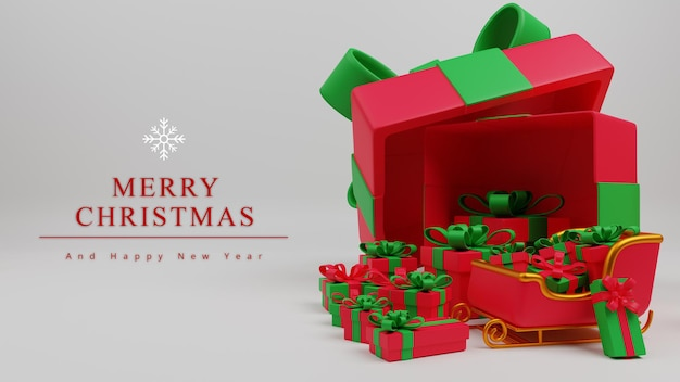 ギフトボックスとサンタの馬車と3dイラストメリークリスマスコンセプトの背景