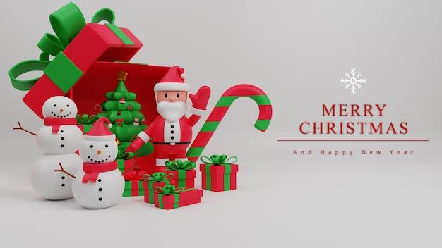 サンタクロース、ギフトボックス、キャンディケイン、雪だるま、クリスマスツリーと3dイラストメリークリスマスコンセプトの背景
