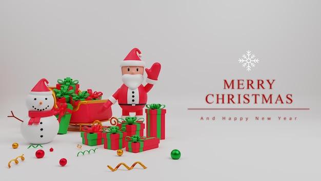 サンタクロース、ギフトボックス、雪だるま、そりと3dイラストメリークリスマスコンセプトの背景