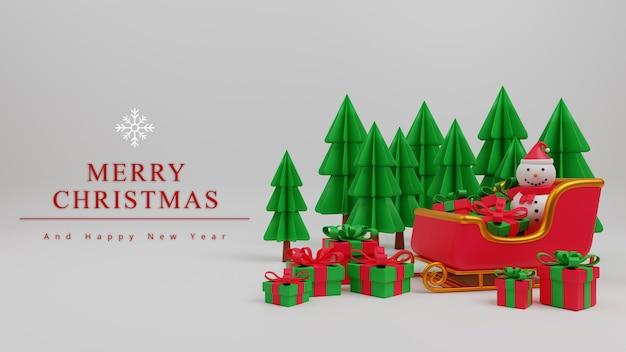 3dイラストメリークリスマスコンセプト背景ツリー、サンタの馬車、ギフトボックス、雪の男